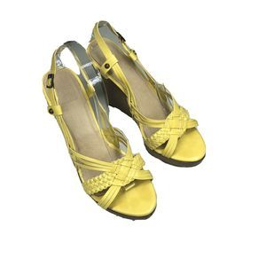 Frye Jackie Woven Lemon Yellow Leather Wood Wedge